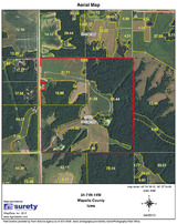 Aerial Map of Iowa Deer Hunting Ranch for sale.